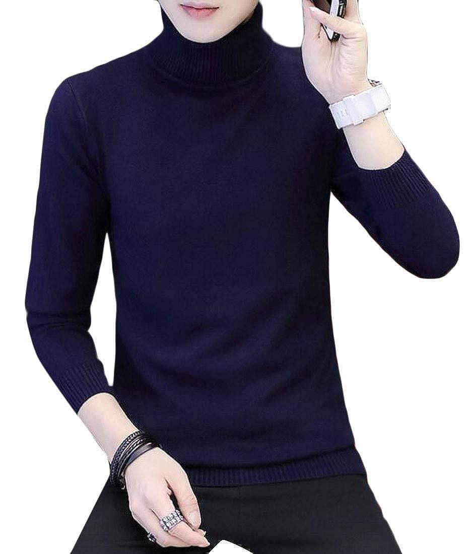 UUYUK Men Slim Fit Long Sleeve Turtleneck Chic Button Knitting Sweater
