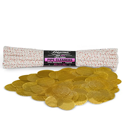 44-Pieces-Beamer-Premium-Unbleached-Bristle-Pipe-Cleaners-and-50-Beamer-Premium-Brass-Screens-For-Tobacco-Pipes-0750-34th-Inch-Size-Limited-Edition-Beamer-Smoke-Sticker