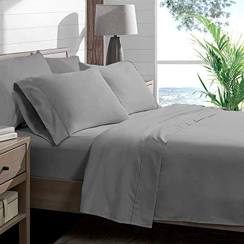 Soft&Rich Luxurious 1000 Thread Count Italian Finish 100% Egyptian Cotton 4-Piece Bed Sheet Set, Fits Mattress Up to 19 inches Deep Pocket, Solid Pattern (Color - Silver Grey, Size - - Italian Sheets Bed