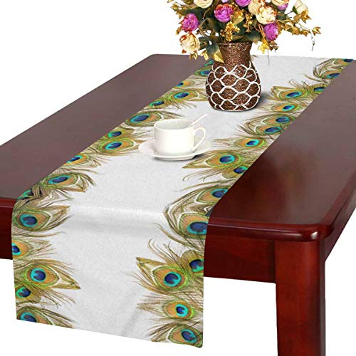 InterestPrint Abstract Green Peacock Feathers Table Runner Cotton