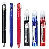 Pilot FriXion Ball Knock Retractable Erasable Gel Ink Pens, Extra Fine Point 0.5mm, Black/Blue/Red Ink, 3 Pens & 9 Refills Value Set