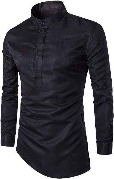 XUBA Camisa lisa informal de manga larga con dobladillo irregular, para hombre: Amazon.es: Ropa y accesorios