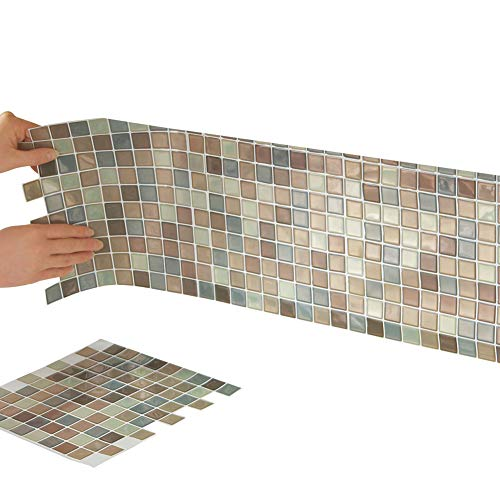 Self Stick Wall Appliques - Collections Etc Multi-Colored Adhesive Mosaic Backsplash Tiles for Kitchen and Bathroom - Set of 6, Brown Multi