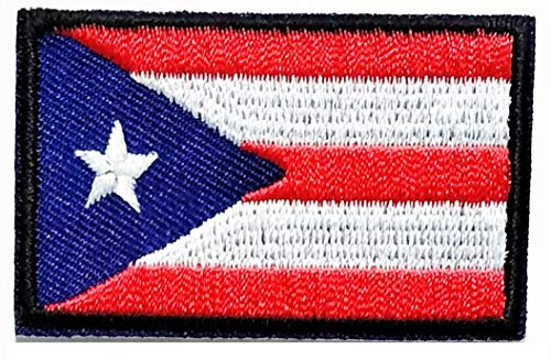 (Mini Puerto Rico Puerto Rican Flag National Iron On Patches Logo Badge Sign Symbol T-Shirt Jeans Skirt Hat Bag Backpacks)