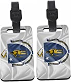 Rikki Knight Massachusetts State Flag Luggage Identifiers - with Strap (x 2)