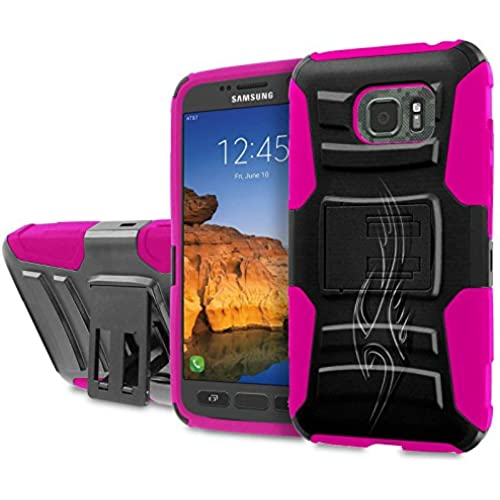 AT&T [Galaxy S7 Active] [5.2 Screen] Armor Case [SlickCandy] [Black/ Hot Pink] Heavy Duty Defender [Holster] [Kick Stand] Phone Case - [Tribal] for Sales