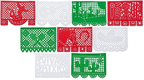 Paper Full of Wishes Large Tricolor - Red, White, Green Plastic Papel Picado Banner - Viva Mexico - Designs and Colors as Pictured