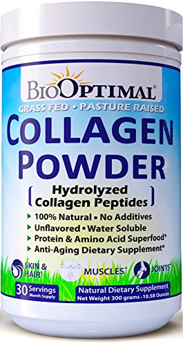BioOptimal Collagen Powder, Collagen Peptides Grass Fed, Non-GMO Premium Quality Hydrolyzed Collagen Protein, Pasture Raised, Dissolves Easily, 300 Grams