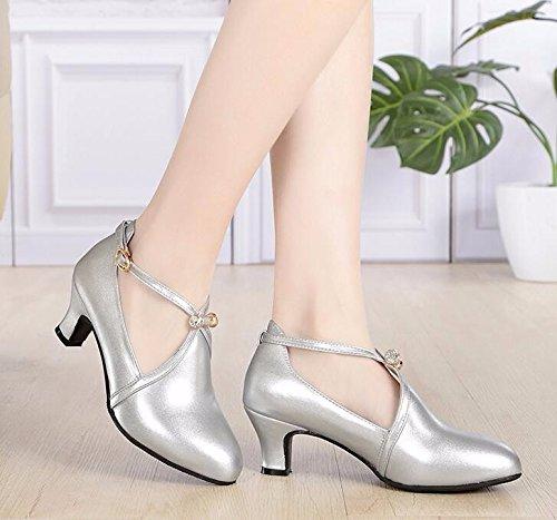 KPHY-Pelle fondo morbido morbido morbido come scarpe da ballo scarpe da ballo square dance scarpe amicizia ospitalità all'aperto scarpe da ballo calzature donna 35 argento 212a75