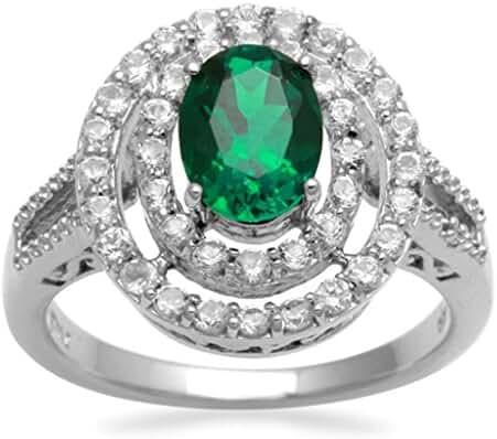 Jewelili Accent White Diamond, Created Emerald & White Sapphire Sterling Silver Ring