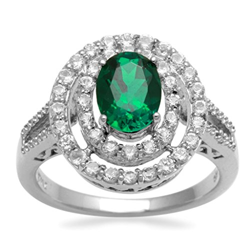 Jewelili Sterling Silver 8x6mm Oval Created Emerald and Round White Sapphire Diamond Accent Double Halo Fashion Ring - Size 7