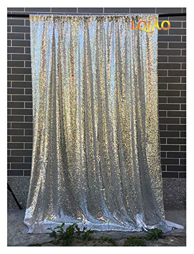 LQIAO 4FTx10FT Silver Sequin backdrops,Glitter Sequin Curtain,Wedding Photo