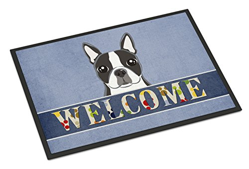 Caroline's Treasures BB1389MAT Boston Terrier Welcome Indoor or Outdoor Mat, 18 x 27