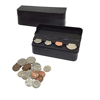 JAVOedge JE (2 Pack) Coin (Quarter, Dimes,etc) Change Holder Storage Sorter Case with Lid for Car, Truck, RV Interior Accessories: Automotive