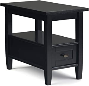 SIMPLIHOME Warm Shaker SOLID WOOD 14 inch wide Rectangle Rustic Contemporary Narrow Side Table in Black with Storage, 1 Drawer and 1 Shelf, for the Living Room and Bedroom