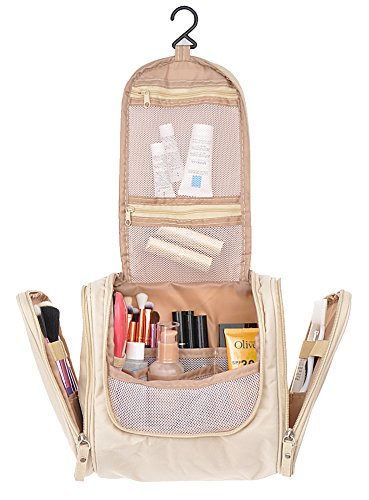Vercord Travel Hanging Toiletries Bag Portable Waterproof Carry On Cosmetics Makeup Kit Organizers With Side Pockets 3 Size, Beige Medium