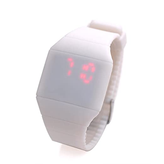 Magic oculta pantalla táctil rojo LED reloj Digital hombres mujeres deporte Cuff reloj de pulsera Blanco: Amazon.es: Relojes