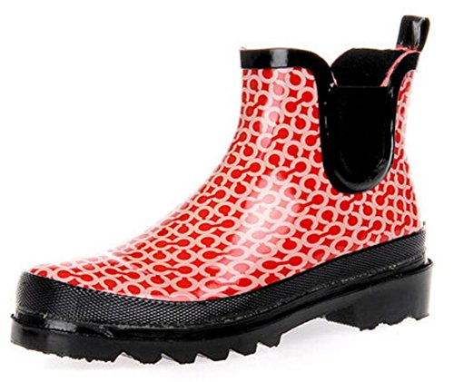 Rubber Shoes Boots Rain Red Antiskid Women's Adult zEw6BS