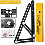 Premium Angle Ruler Metal Angle-izer Template Measuring Tool, Multi-angle Finder with Aluminum Screws, Perfect for Carpenters Engineers Builders, Flooring Professionals, DIY Wood Tile (Black)