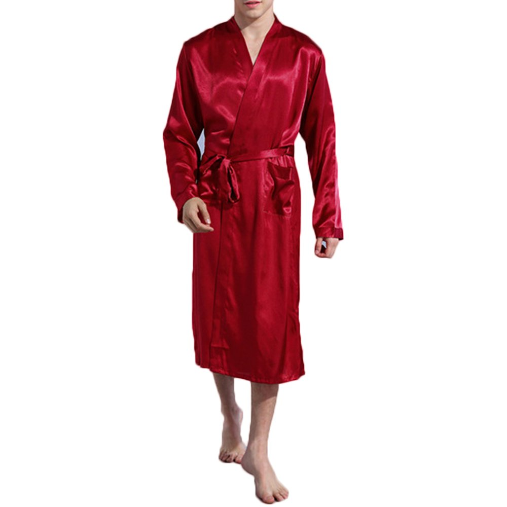 Fashionyoung FY Men Unisex Couple Kimono Long Bathrobe Satin Silk Soft Robes Solid Color Dressing Gown Housecoat Sleepwear Nightwear Shower Loungewear for Spa Party Gift