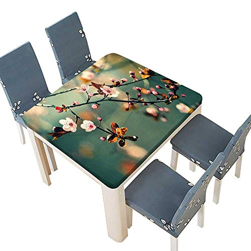 PINAFORE Spring & Summer Outdoor Tablecloth, Themed Asian Floral Flowering Japanese Cherry Sakura Photo Light Pink Forest Green Multicolor 53 x 53 INCH (Elastic Edge)