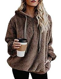 Womens 1/4 Zip Fleece Sherpa Winter Jacket Outwear Sweaters