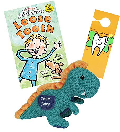 - Maison Chic Rex Tyrannosaurus Rex Dinosaur Tooth Fairy Plush Pillow w/ Loose Tooth by Lola M Schaefer Fairy Book & Door Hanger Gift Set for Little Boys About to Loose a Tooth (T-Rex TF w/ Loose Tooth)