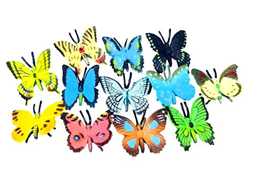 Garden Party File - Izzy Designs 24-piece Colorful Mini Butterfly Toy Set- Realistic Minature Toys for Children, Educational Classroom Sensory Figurines, Birthday Party Favors & Piñata Filler