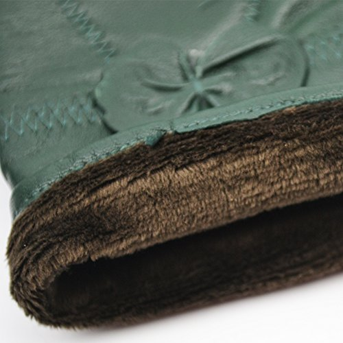 Yosang Women Luxury Winter Genuine Leather Lined Gloves w/ Bowknot Dark Green Large by Yosang (Image #6)