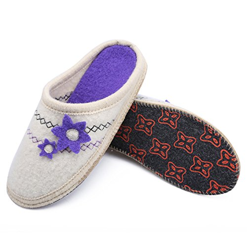 Boiled Wool Warm White LE Purple Cozy Winter KAPMOZ Women Indoor Slippers House for Slippers Womens 1qRxBRUE