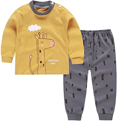 DOTBUY Conjuntos de Pijama para Bebés Niños Niña, Bebés Unisex 2PC Manga Larga Top Pantalones de Imprimiendo Algodón Pijamas (100cm, Jirafa Amarilla): Amazon.es: Ropa y accesorios