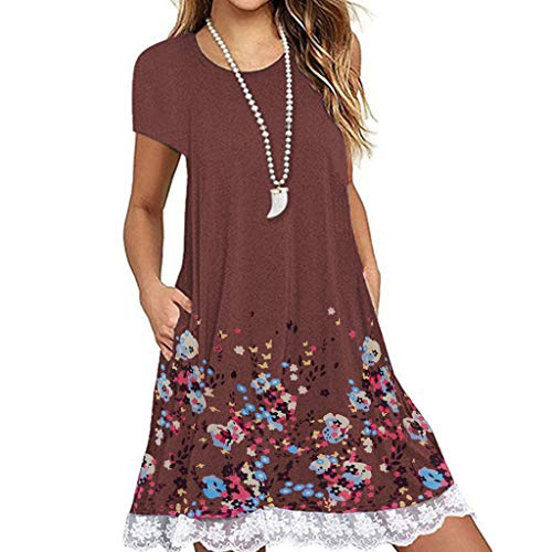 - Dresses for Women Casual, Women O Neck Casual Print Pocket Lace Short Sleeve Mini Dress Loose Party Short Dress Brown