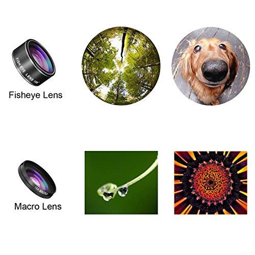TECHO 5 In 1 HD Camera Lens Kit [Fisheye Lens, Macro Lens