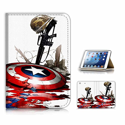 (for iPad Mini 1 2 3, Generation 1/2/3) Flip Case Cover & Screen Protector Bundle - A21008 Captain America Shield (Ipad 2 Mini Captain America)