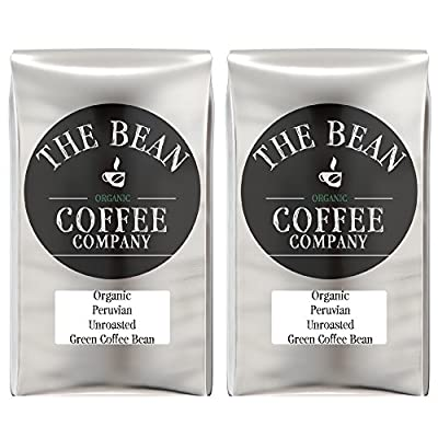 The Bean Coffee Company Organic Unroasted Green Coffee Beans, Peruvian, 16-Ounce Bags (Pack of 2)