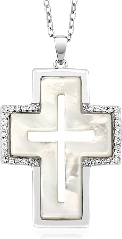 Gem Stone King 1 Inch White Simulated Mother of Pearl MOP Cross Shape Pendant Necklace with 18 Inch Chain