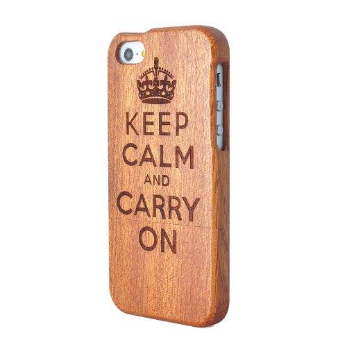 SunSmart Cubierta de la caja de madera hecha a mano Unique Natural de madera duro para el iPhone 5 5S (secoya) sapele-Enfriar