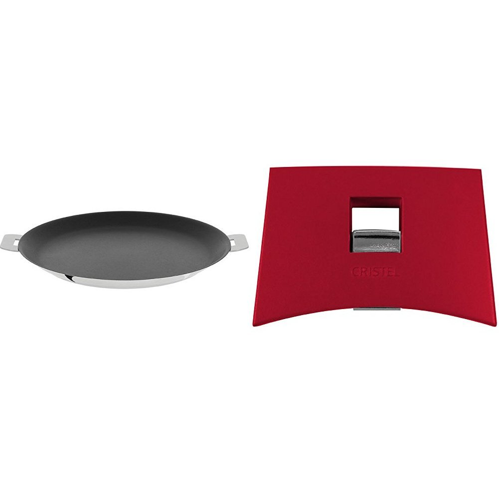 Cristel CR30QE Non-Stick Crepe Pan, Silver, 12'' with Cristel Mutine Spplmaf Set of Handles, Raspberry