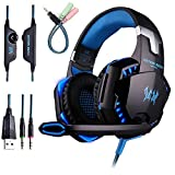 Gaming Headset for PS4 with Microphone,Sound Over Ear Headset with Noise Reduction Mic,USB Glaring LED Lights,Volume Control for Xbox One Mac Switch
