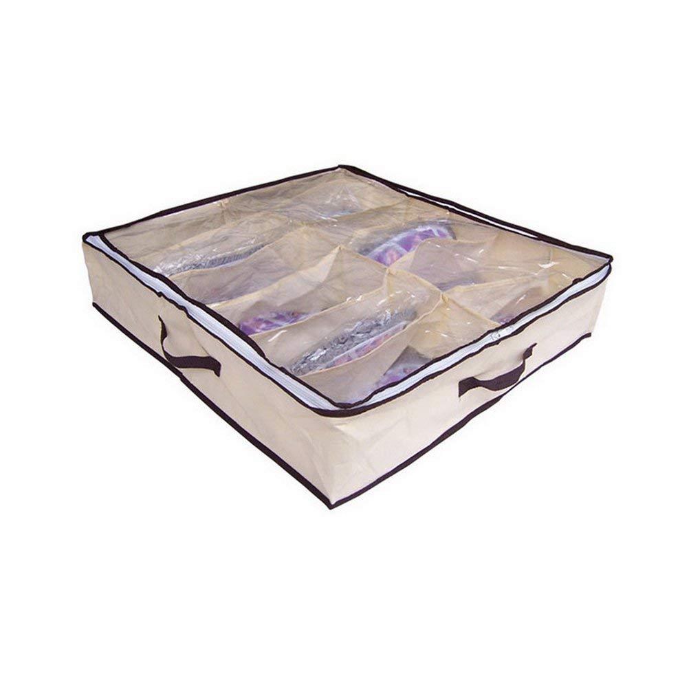 12 Pairs Yellow Under-Bag Shoe Organizer Storage Bag with Transparent Skylight Yellow