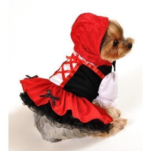 Girl Pet Dog Cat Red Riding Hood Halloween Fancy Dress Costume Outfit Clothes XS-XL (Large)