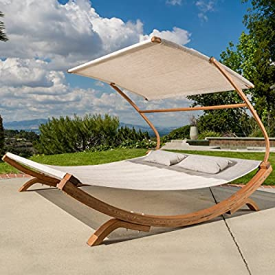 Outdoor Patio Lounge Daybed Hammock w/ Adjustable Shade Canopy