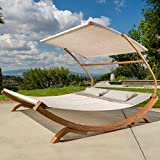 Sunbed With Canopy Best Deals - Outdoor Patio Lounge Daybed Hammock w/ Adjustable Shade Canopy