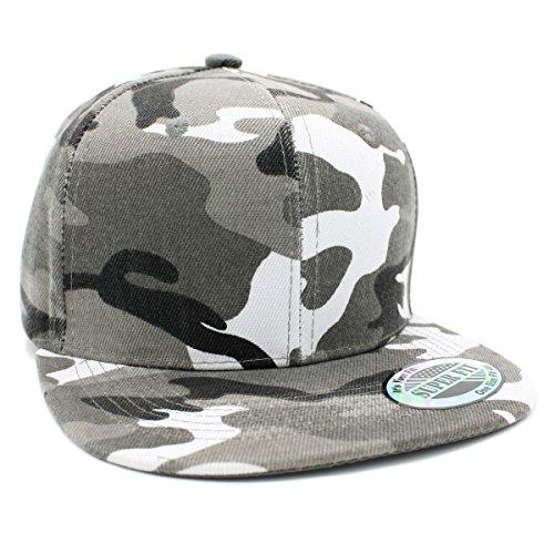 LAFSQ Plain Camouflage Flatbill Snapback Cap (Grey Camo) (Cap Camo Grey)