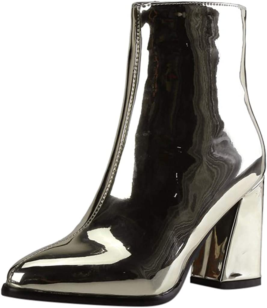 Kauneus Womens Mirror Patent Leather Party Dress Ankle Boots Pointed Toe Side Zipper Chunky Heel Fashion Mid Calf Boots