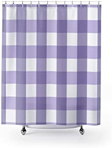 Lplpol Periwinkle and White Check Country Fabric Shower Curtain Custom Design Bathroom Decor 71x71 inches