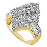 Fancy Diamond Cocktail Ring Solid 14k Yellow Gold Fashion Band Round & Baguette Cluster Style 1.00 ctw