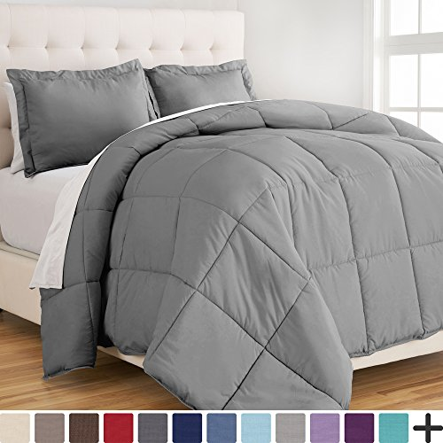 Ultra-Soft Premium 1800 Series Goose lower different Comforter Set - Hypoallergenic - All Season - Plush Siliconized Fiberfill (Full/Queen, mild Grey)