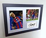 Signed Black Soccer Neymar Jr Barcelona Autographed Photo Photographed Picture Frame A4 12x8 Football Gift