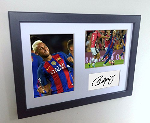 Signed Black Soccer Neymar Jr Barcelona Autographed Photo Photographed Picture Frame A4 12x8 Football Gift by Kicks